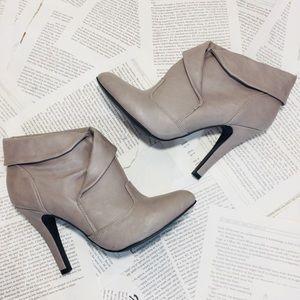 Qupid Stiletto Heel Booties Taupe 7M